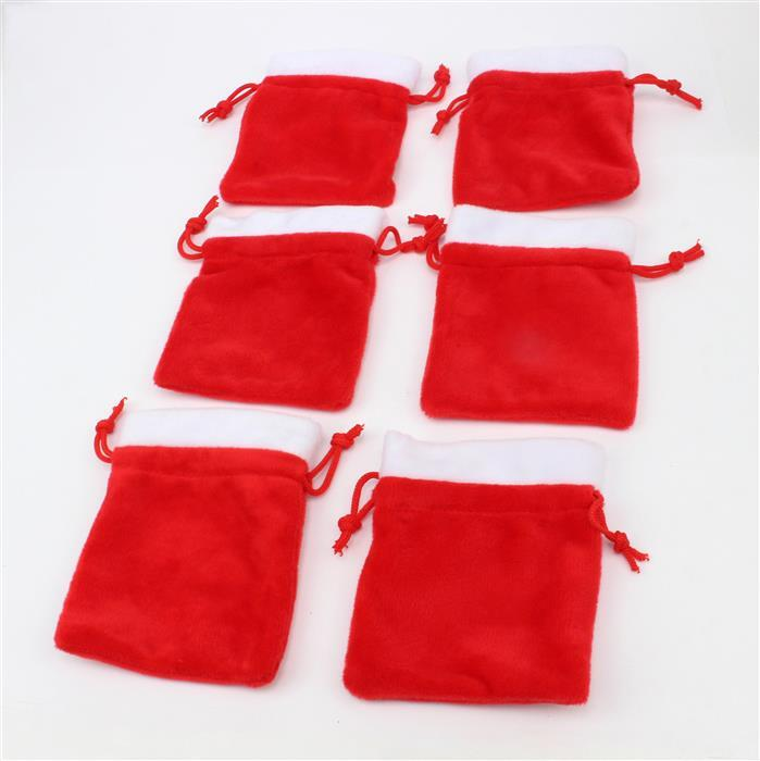 Christmas Santa Sacks Approx 11x9cm 6pk
