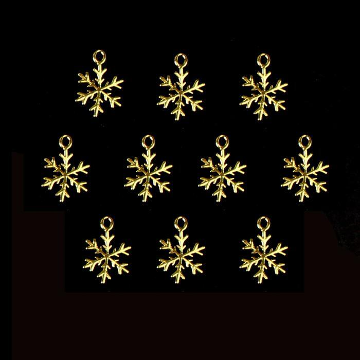 Gold Colour Base Metal Snowflake Charms Approx 12mm (10pcs)