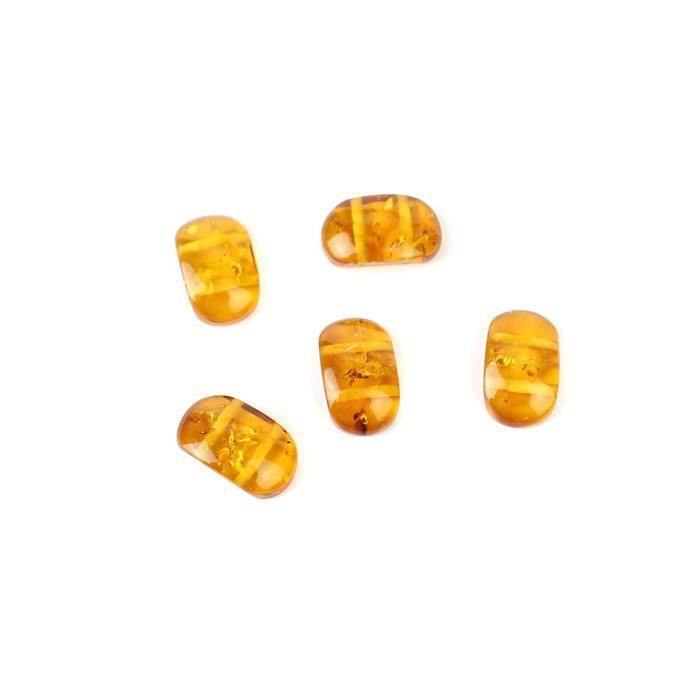 Baltic Cognac Amber Double Drilled Cabochon Approx 15x9mm 5pcs