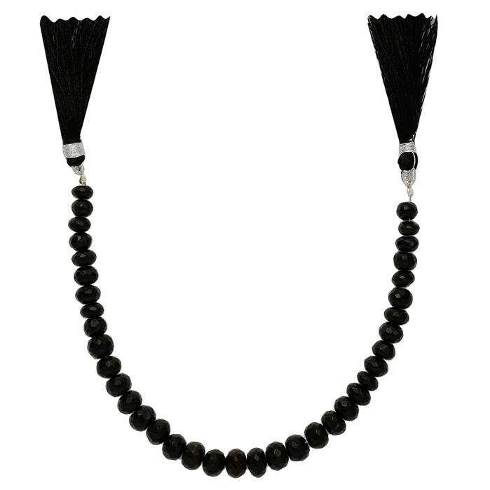 80cts Black Onyx Graduated Faceted Rondelles Approx 4x2 to 8x4mm, 18cm Strand.