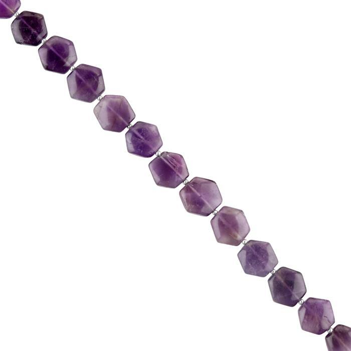 80cts Amethyst Graduated Puffy Hexagons Approx 10 to 13mm, 16cm Strand.