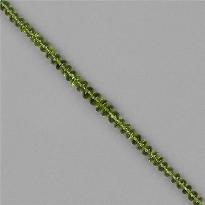 42cts Peridot Graduated Plain Rondelles Approx 4x3 to 7x4mm, 12cm Strand.