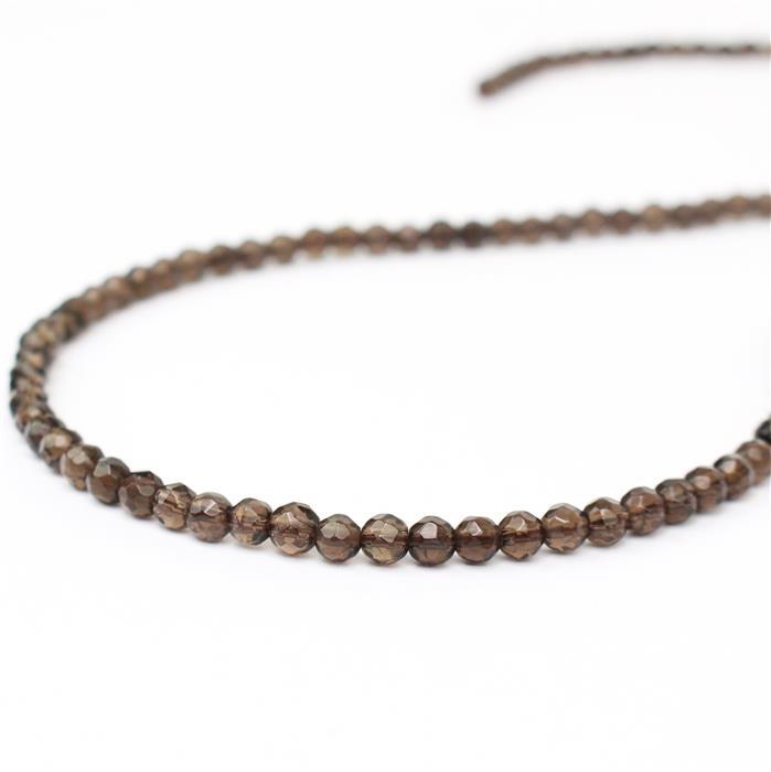 40cts Smokey Quartz Faceted Rounds Approx 4mm, 38cm strand