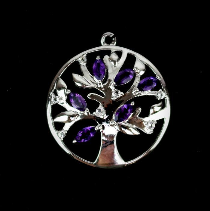 925 Sterling Silver Gemset Tree Charm Approx 27x25mm Inc. Amethyst and White Topaz.