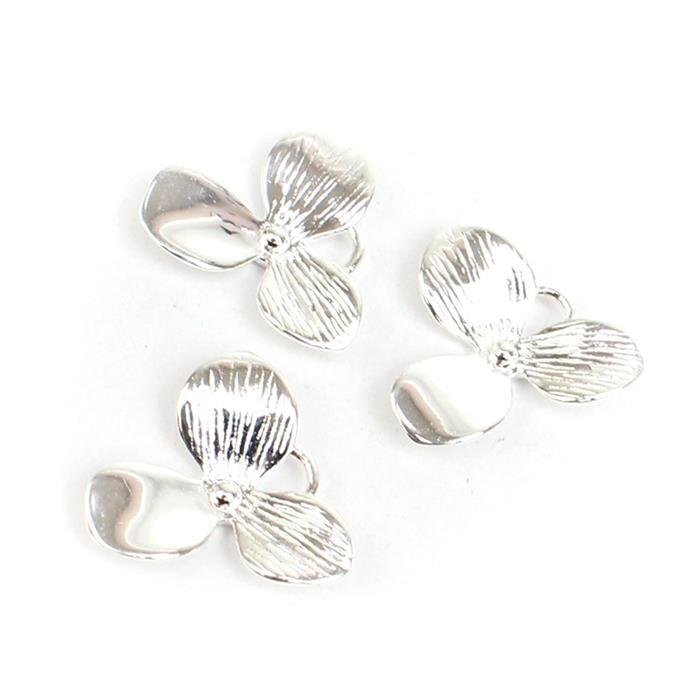 925 Sterling Silver Oriental Flower Charms Approx 15x14mm 3pk