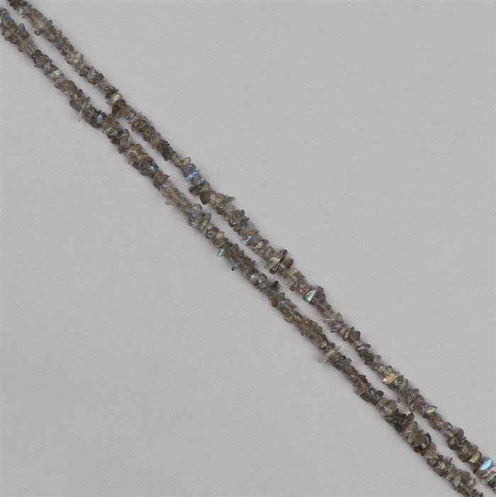 168cts Labradorite Graduated Plain Small Nuggets Approx 2x1 to 8x2mm, 98cm Strand.