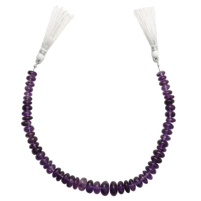 85cts Amethyst Graduated Plain Rondelles Approx 4x2 to 9x5mm, 20cm Strand.
