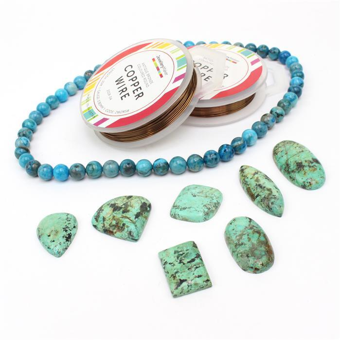 Frozen Fire: 145cts Turquoise multi-shape cabochons, 8mm blue agate rounds & bronze wires