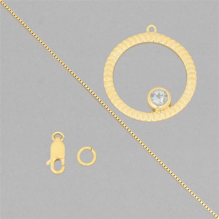 Birthstone Kit: Gold Plated 925 Sterling Silver Birthstone Necklace Kit Inc. 0.40cts Aquamarine Round Approx 5mm