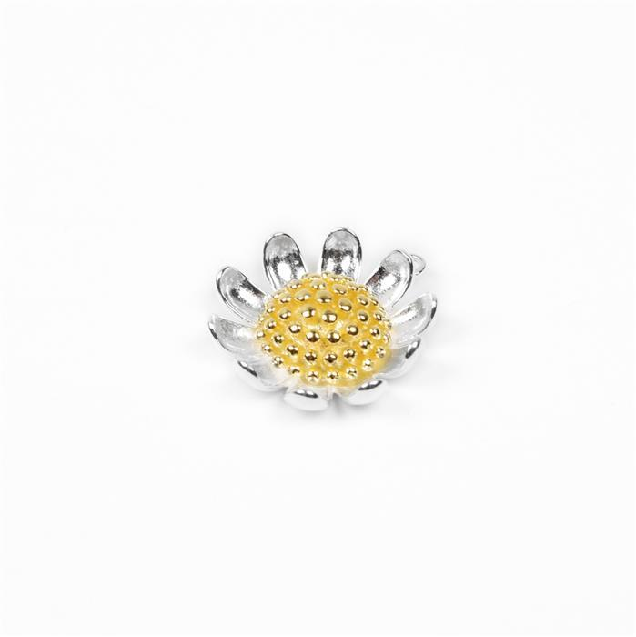 925 Sterling Silver 2 Tone Daisy Flower Connector - 20mm (1pc)