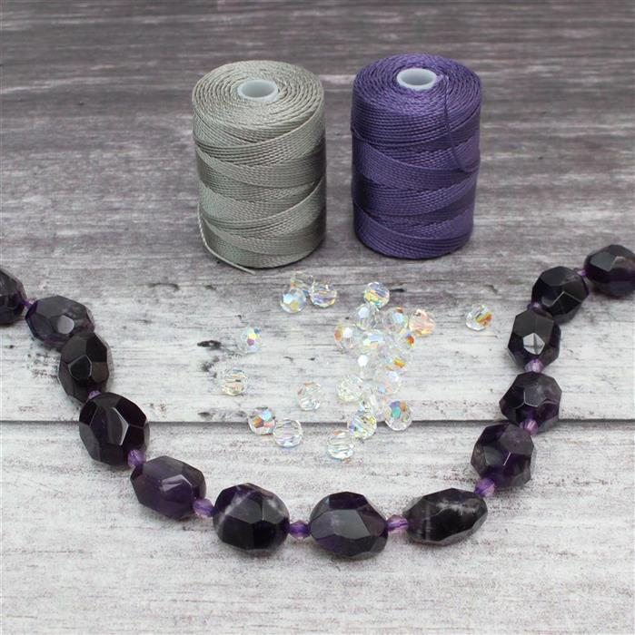 Lilac Shadow; 310cts Amethyst Faceted Nuggets, Swarovski Round Beads 6mm, 2 x Nylon 0.4mm