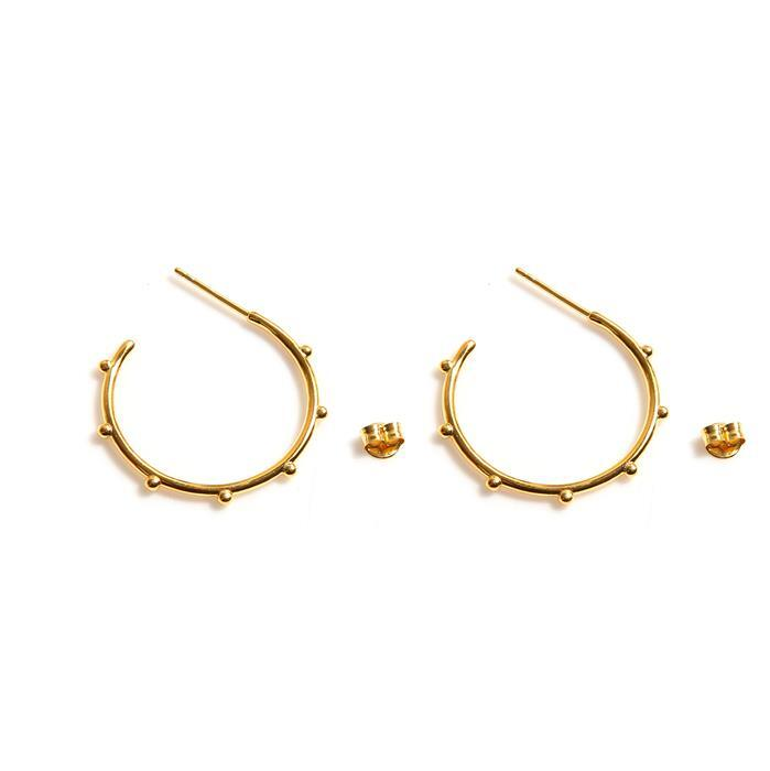 Gold Plated 925 Sterling Silver Beaded Hoop Earrings with Butterfly backs Approx 27mm