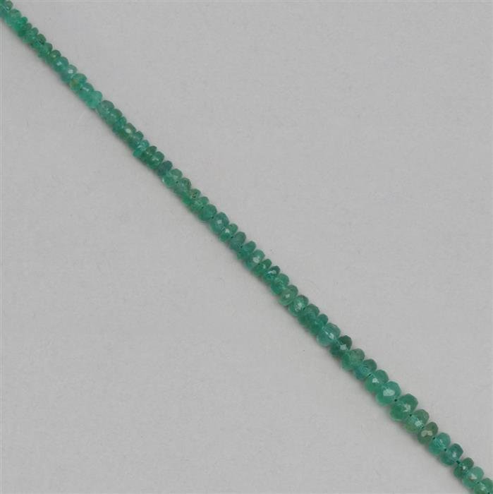 24cts Colombian Emerald Graduated Faceted Rondelles Approx 2x1 to 5x3mm, 24cm Strand.