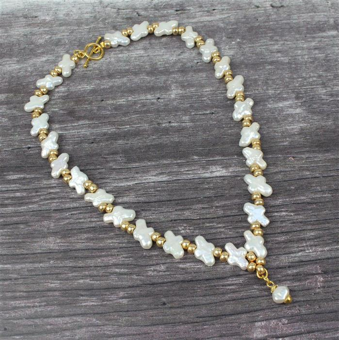 Cross My Heart INC Cross Pearls, Pearl Nuggets, Gold 6/0s, Gold C-Lon & Gold Findings