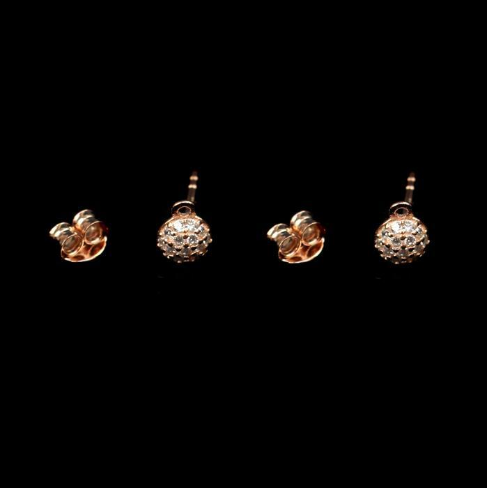 Rose Gold Plated 925 Sterling Silver Cubic Zirconia Cluster Earring Posts With Butterfly, Approx 5mm, 1pair