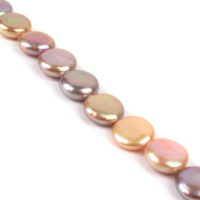 Lavender Freshwater Cultured Pearl Coins Approx 13-15mm, 30cm Strand