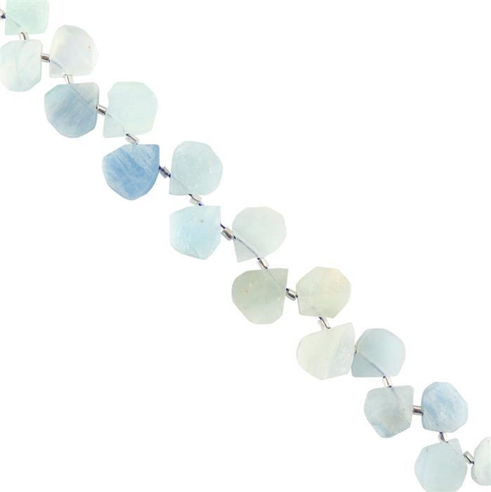 100cts Aquamarine Graduated Matte Finished Fancy Pears Approx 11x10 to 14x13mm, 18cm Strand.