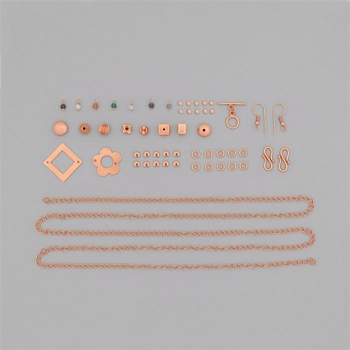 Rose Gold Plated Copper Jewellery Findings Kit with Approx 52.5cts Multi Gemstone Loops (Approx 400pcs)