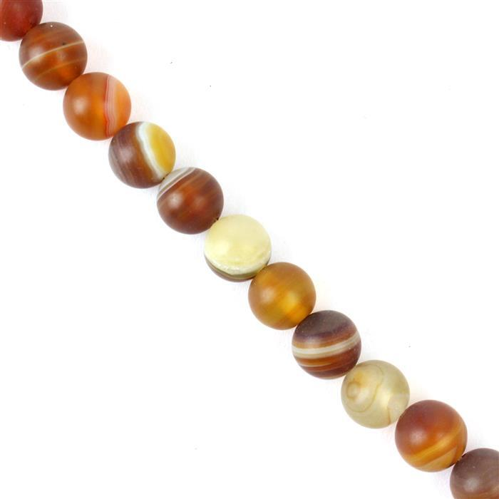 250cts Yellow Striped Frosted Agate Rounds Approx 10mm, 38cm strand