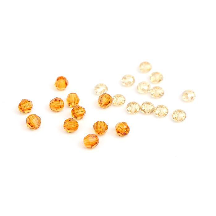 Add Sparkle to Sparkly Forest INC 12pk 4mm Golden Briolette & 12pk 4mm Topaz Round Beads