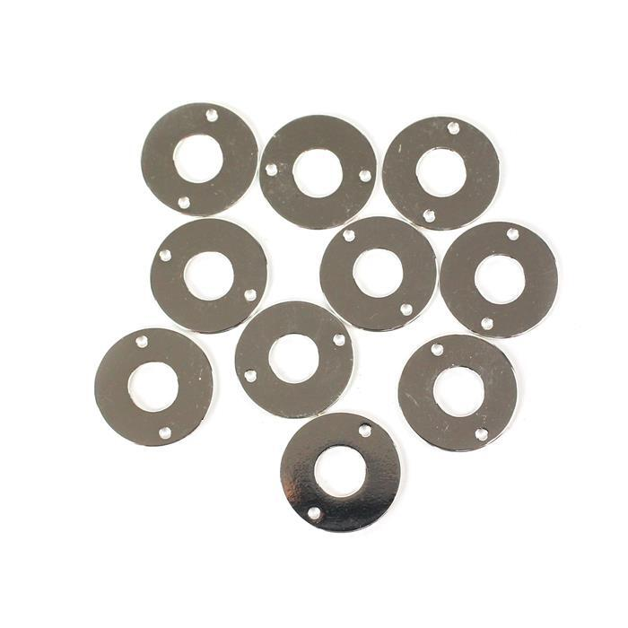 Silver Plated Base Metal Hollow Circle Connector, Approx 17mm (10pcs)