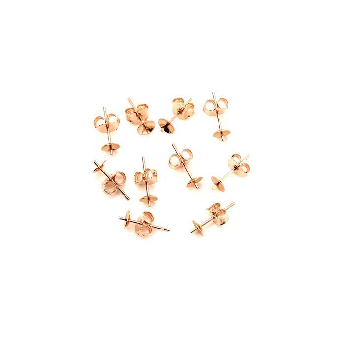Rose Gold Plated 925 Sterling Silver Earring Studs With Butterfly Backs (5 Pairs)