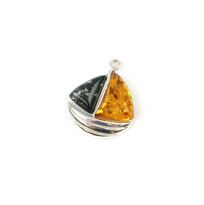 Baltic Multi-Colour Amber Sailboat  Pendant Approx 23x19mm Silver 925