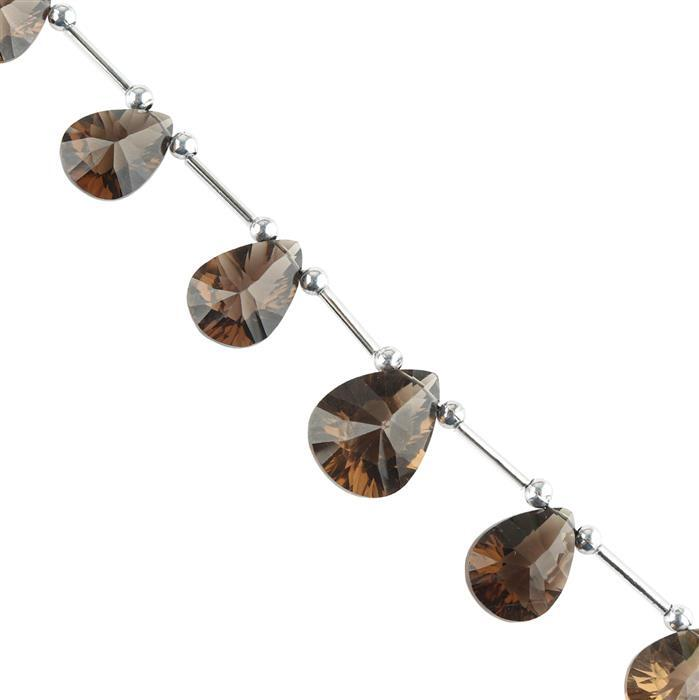 75cts Smokey Quartz Graduated Concave Cut Pears Approx 13x9 to 18x9mm, 16cm Strand.