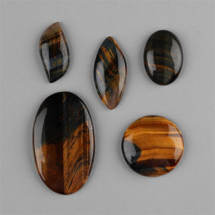 185cts Tiger Eye Multi Shapes Cabochons Assortment.