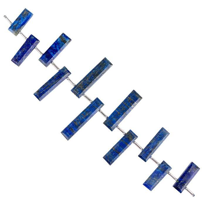 122cts Lapis Lazuli Graduated Faceted Bars Approx 15x6 to 31x6mm, 14cm Strand.