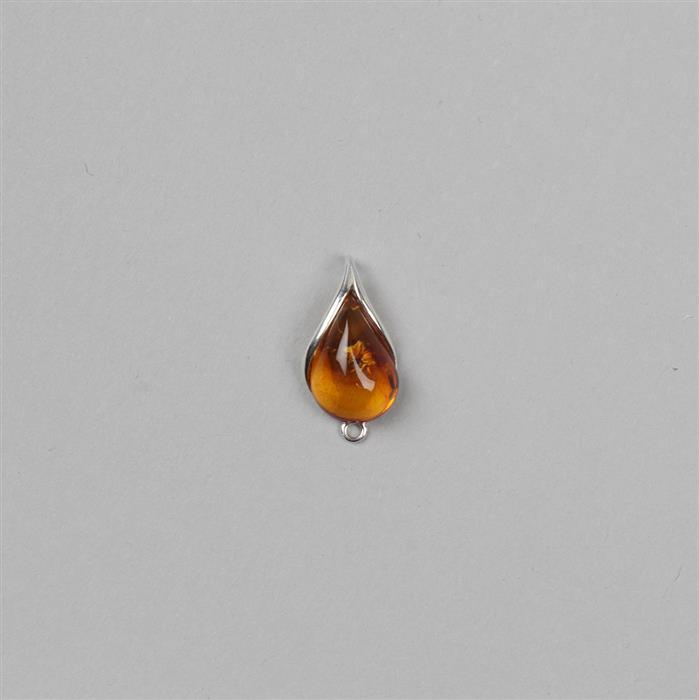 Baltic Cognac Amber Cabochon Drop with Sterling Silver Element Approx 19x10mm