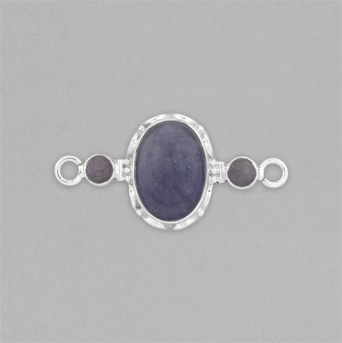 925 Sterling Silver Gemset Connector Approx 43x21mm Inc. 10.50cts Tanzanite Cabochons