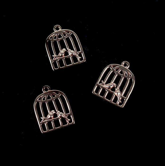 Rose Gold Plated 925 Sterling Silver Love Bird Cage Charms Approx 10x13mm 3pcs