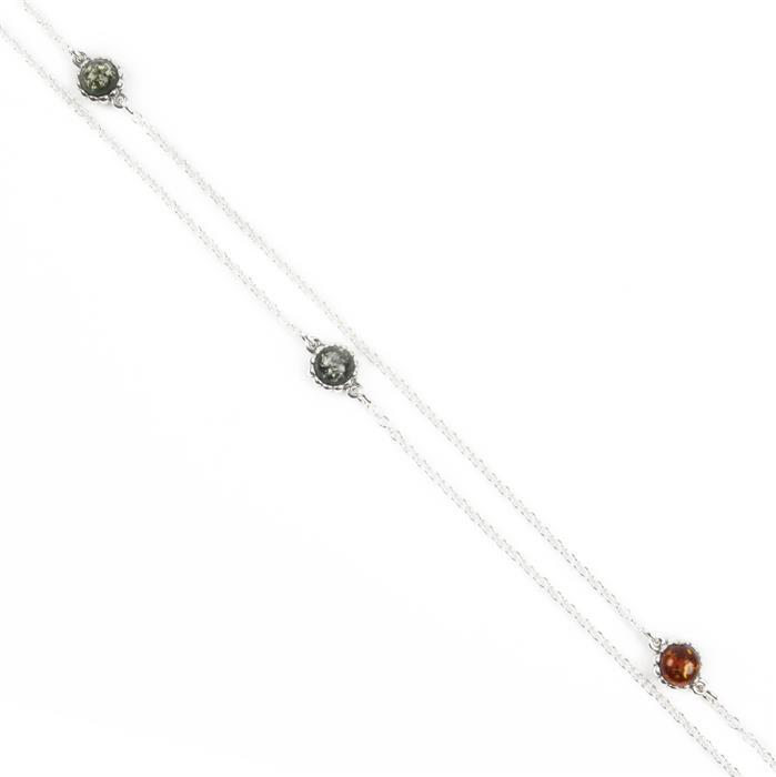 Baltic Multicolour Amber Sterling Silver Gemset Chain - 100cm length