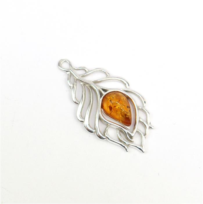 Sterling Silver Baltic Cognac Amber Feather Pendant Approx 28x15mm