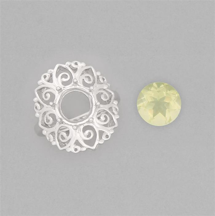 Size 7 925 Sterling Silver Medieval Ring Mounts Fits 9mm Round Inc. 2cts Green Gold Quartz 9mm Round