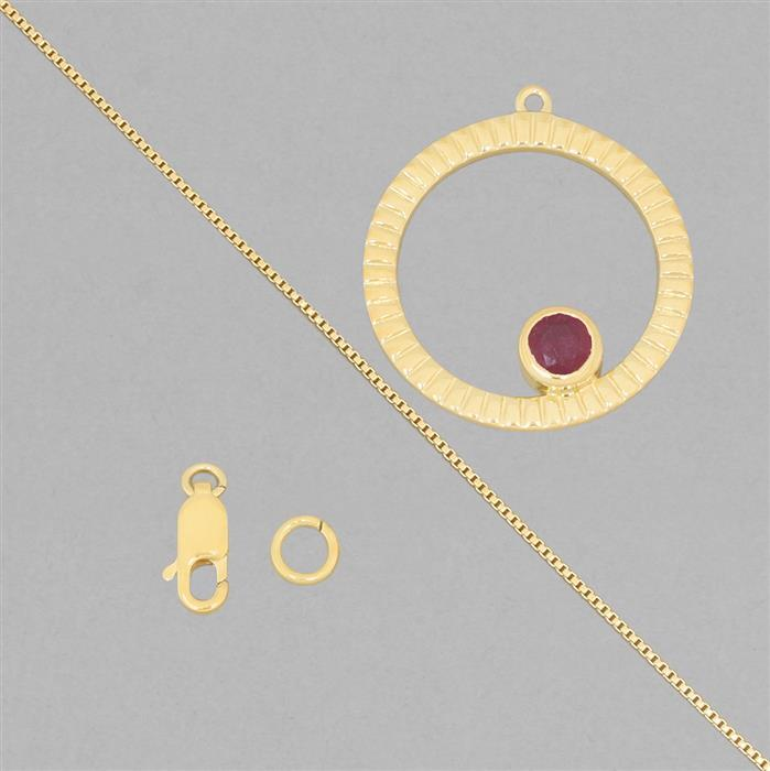 Birthstone Kit: Gold Plated 925 Sterling Silver Birthstone Necklace Kit Inc. 0.72cts Ruby Round Approx 5mm