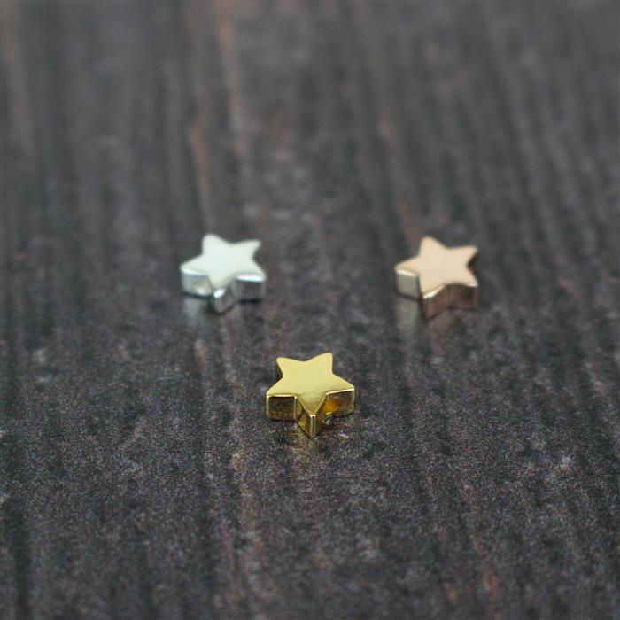 925 Sterling Silver, Gold Plated and Rose gold Plated Strling Silver Stars Beads Approx 6mm, 3pcs