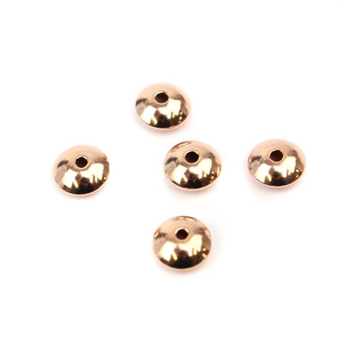 Rose Gold Plated 925 Sterling Silver Saucer Shaped Beads Approx 7mm 5pcs