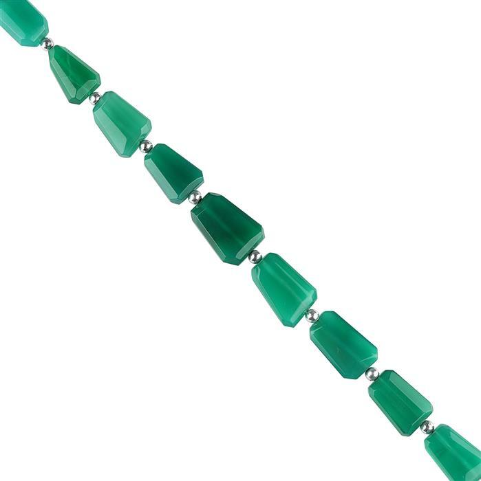 110cts Green Onyx Graduated Faceted Nuggets Approx 12x8 to 17x12mm, 16cm Strand.