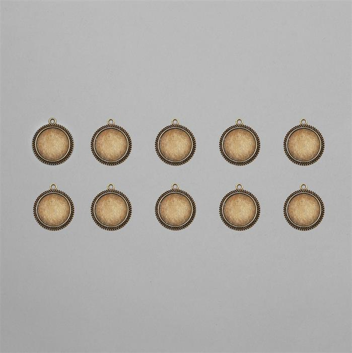 Antique Bronze Round Bezel Approx 20mm (10pcs/pack)