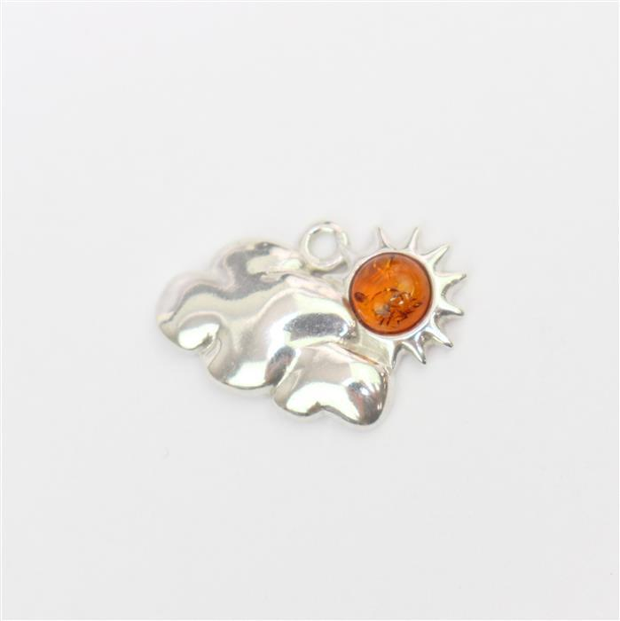 Sterling Silver Baltic Cognac Amber Sun and Cloud Charm Approx 19x13mm