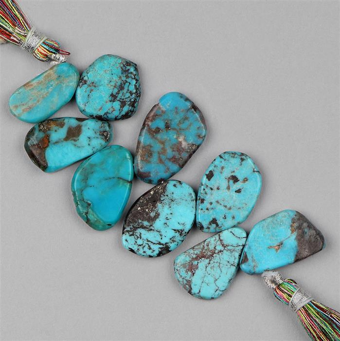 70cts Turquoise Graduated Plain Slices Approx 16x9 to 22x14mm, 8cm Strand.