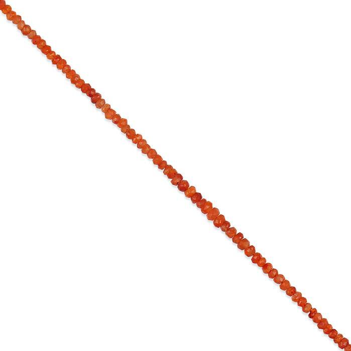 26cts Carnelian Graduated Faceted Rondelles Approx 2x1 to 4x2mm, 30cm Strand.