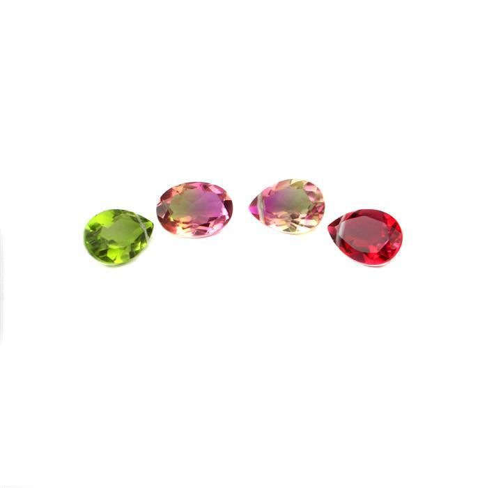 Triplet Brights Colourway Inc BRAND NEW Ruby Colour Triplet with Clear Quartz Pear & More