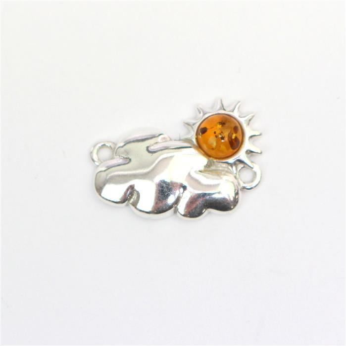 Sterling Silver Baltic Cognac Amber Sun and Cloud Connector Approx 19x13mm