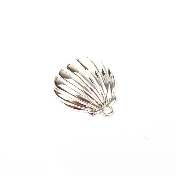 925 Sterling Silver Scalloped Shell Pendant Approx 20x17mm 1pc