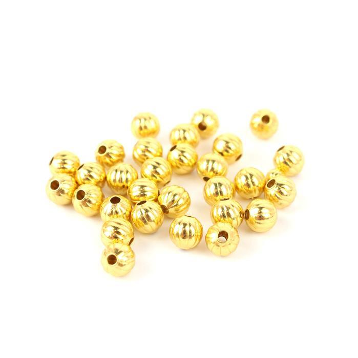 Gold Colour Brass Ribbed Spacer Beads Approx 5mm, 30pcs/pk