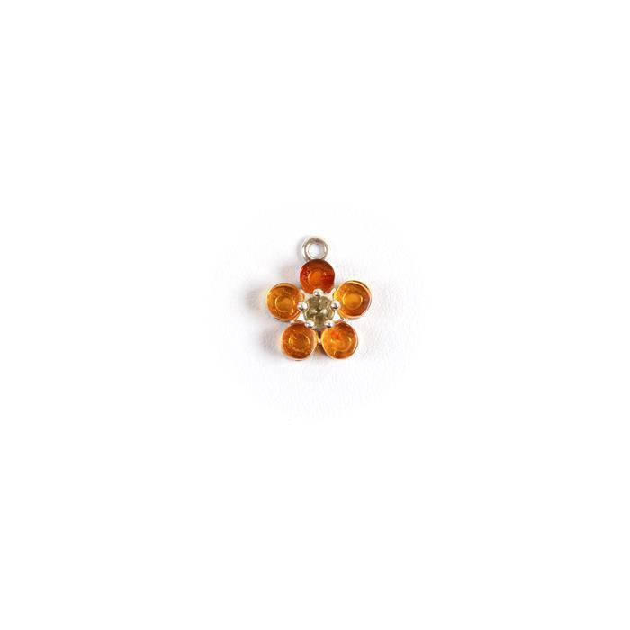 Baltic Cognac and Lemon Amber Flower Charm,Sterling Silver, Approx 13x11mm