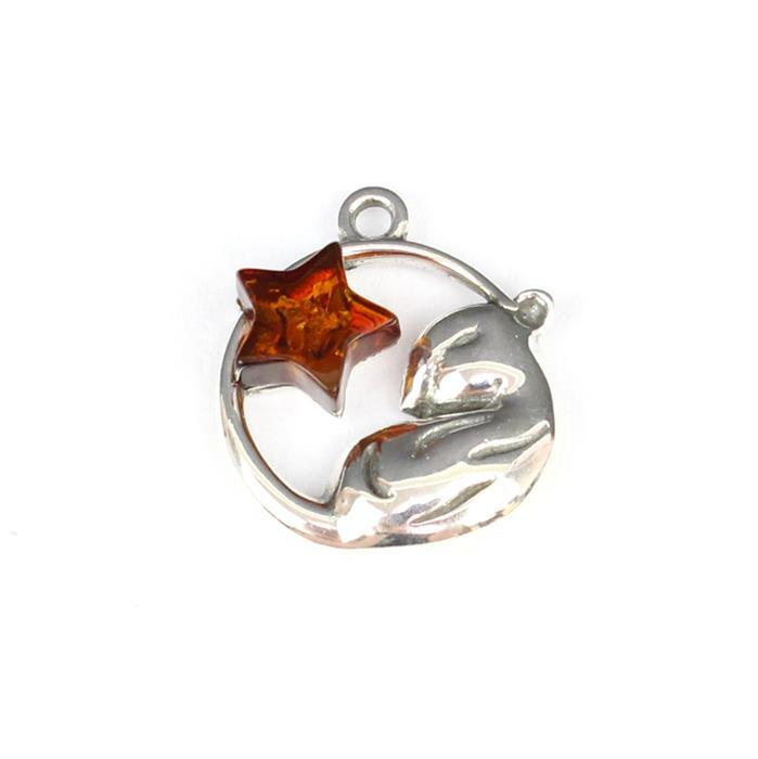 Baltic Cognac Amber Sleeping Mouse Sterling Silver Charm Approx 17x15mm